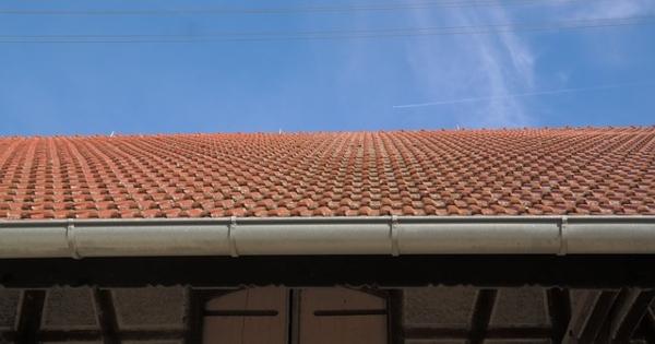 gutter along tile roof