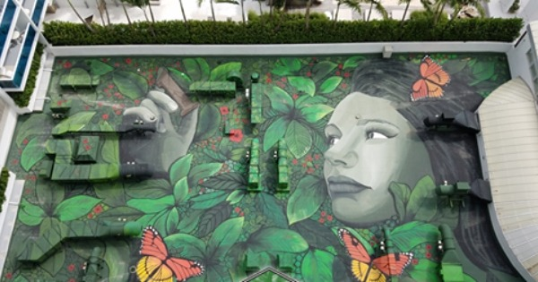 rooftop mural of lady